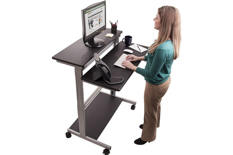40″ Black Shelves Mobile Ergonomic Stand Up Desk Computer Workstation Review